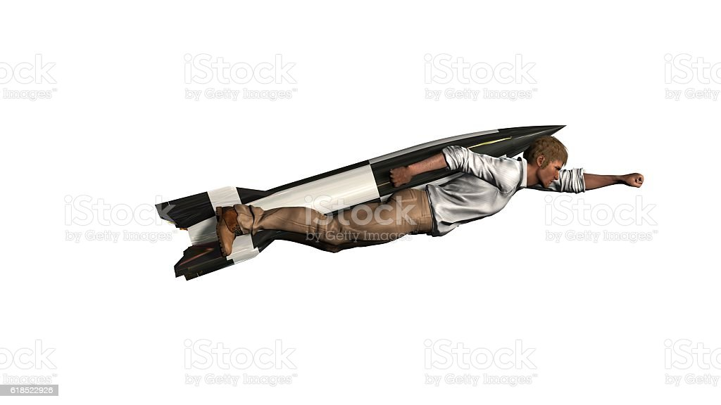 man flying with jet pack rocket isolted on white stock photo