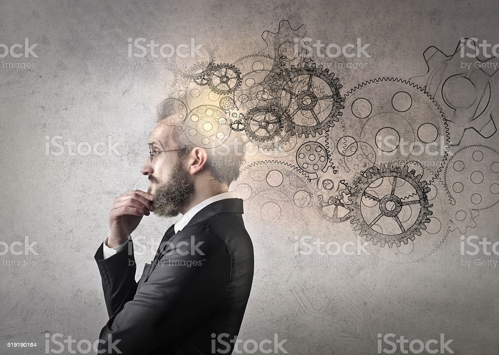 Man followed by ideas stock photo