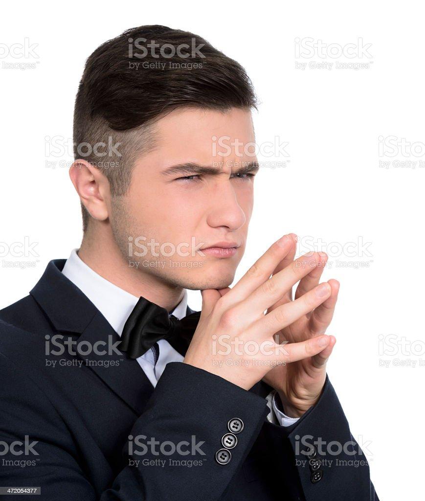 man frowning royalty-free stock photo