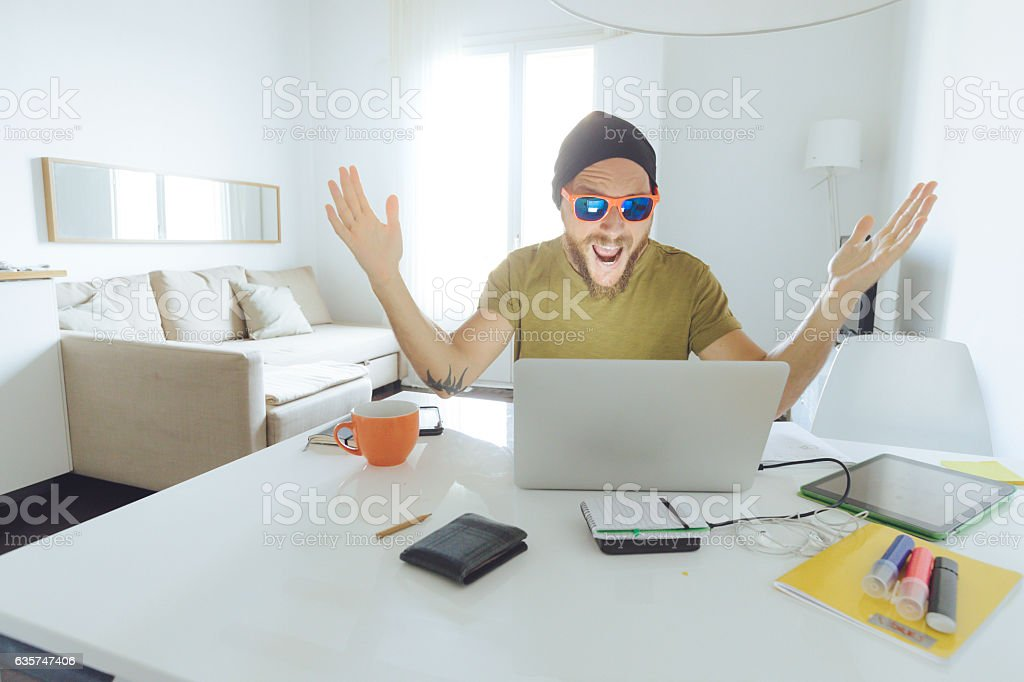 Man gestures for success stock photo