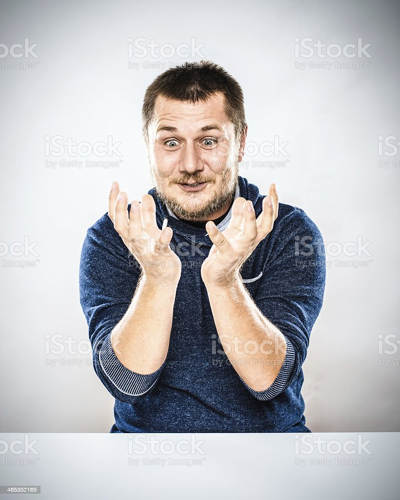 Man Gesturing Desk Portrait stock photo