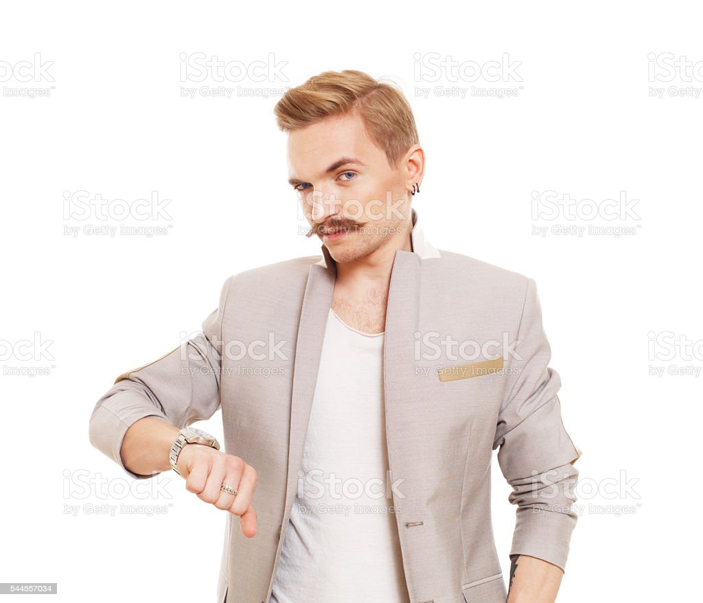 Man gesturing thumb down sign isolated at white stock photo