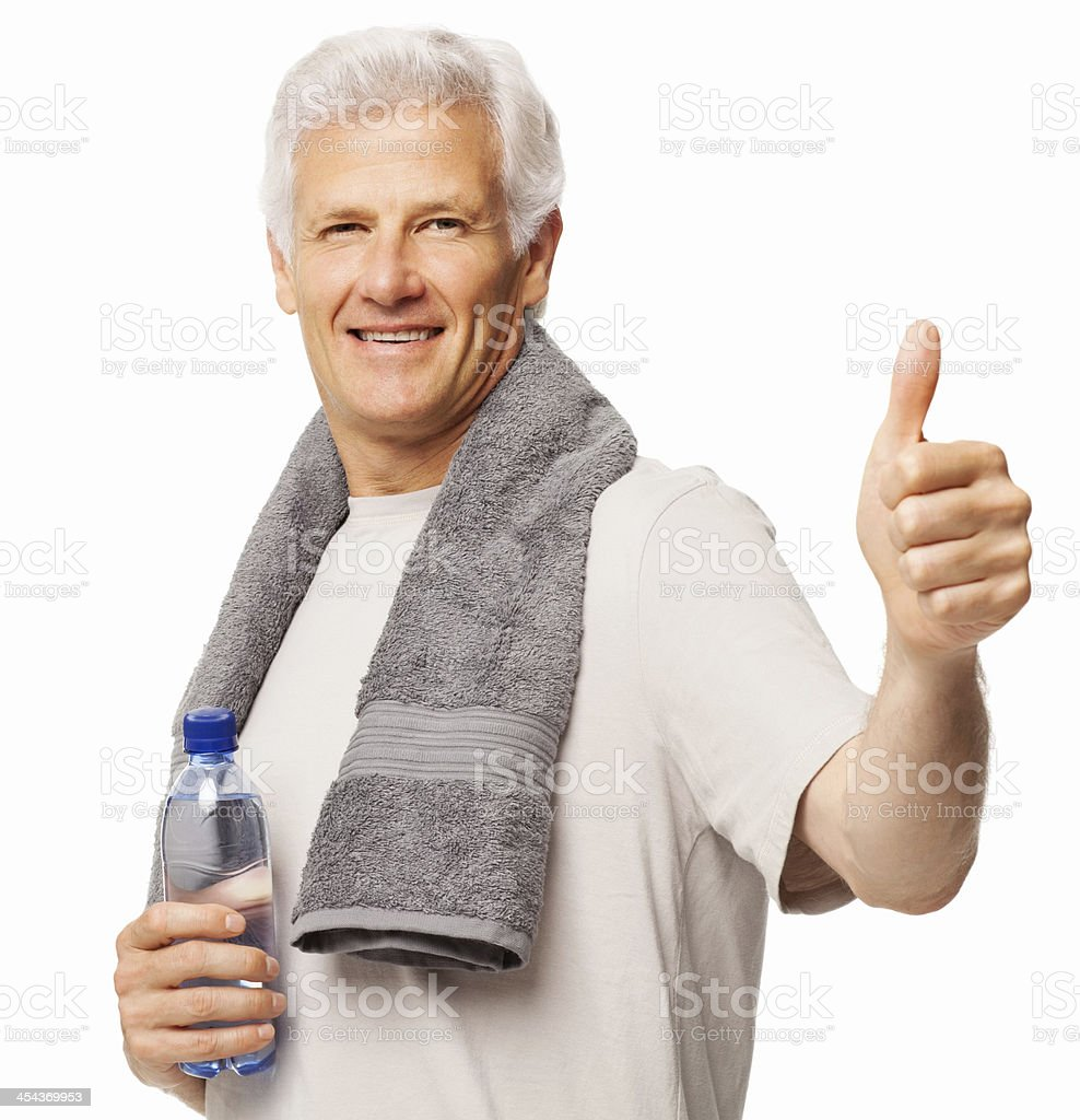 Man Gesturing Thumbs Up After Workout - Isolated royalty-free stock photo