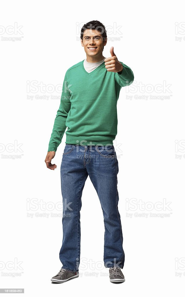 Man Gesturing Thumbs Up - Isolated royalty-free stock photo