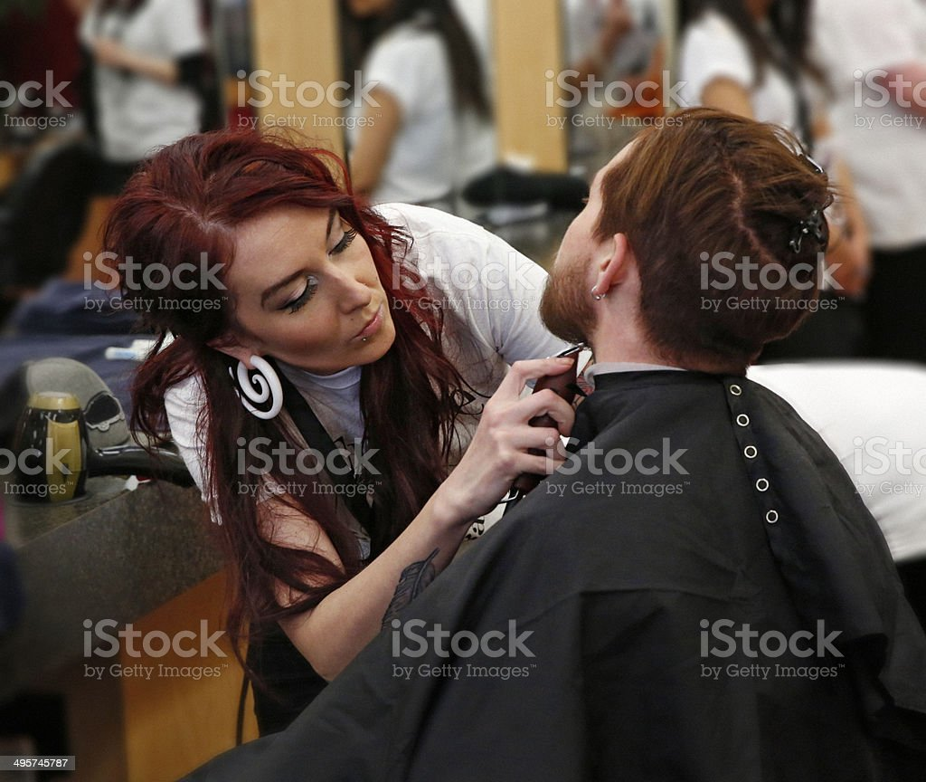 Man Getting A Haircut royalty-free stock photo