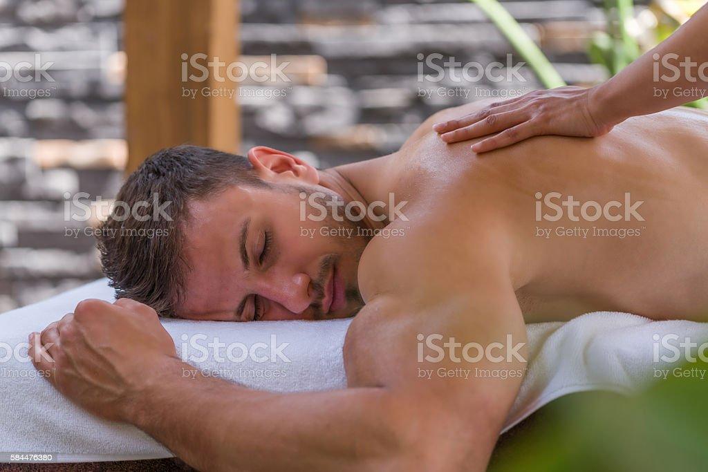 Man getting a massage stock photo