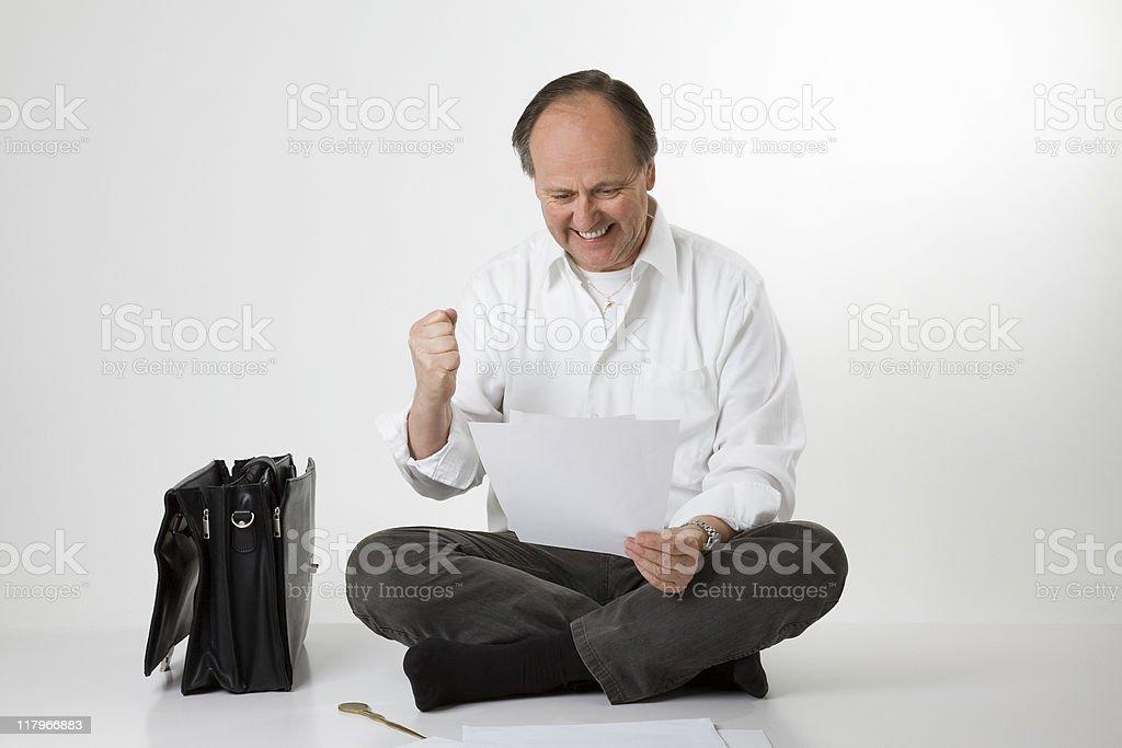 man getting good news stock photo