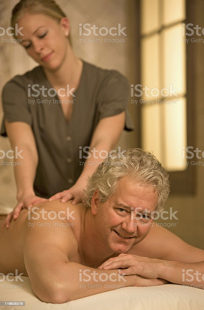 Man Getting Massage royalty-free stock photo