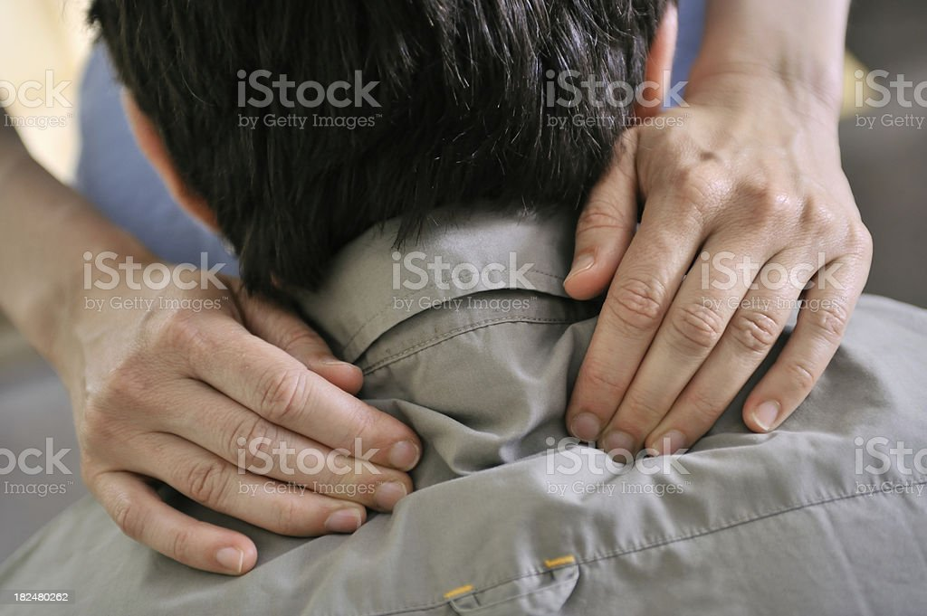 Man Getting Mobile Chair Massage royalty-free stock photo