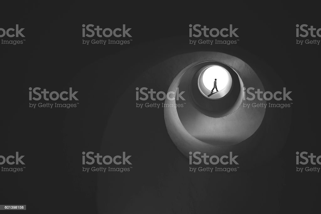 man getting out from vortice stock photo