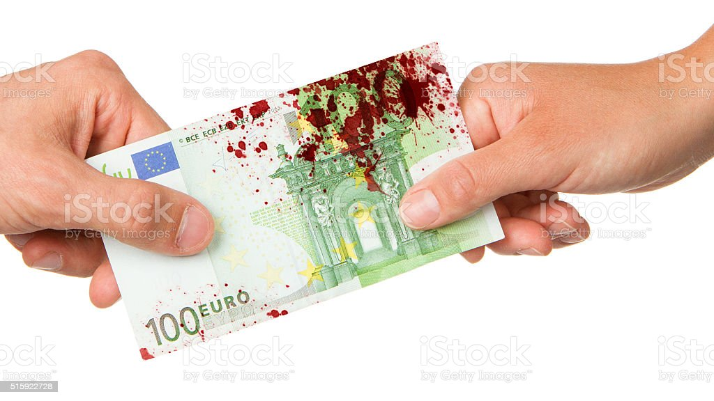 Man giving 100 euro to a woman, bloody stock photo