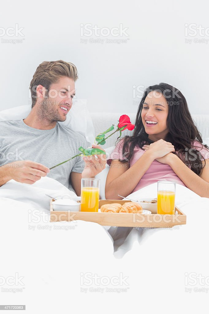 Man giving a rose to his wife royalty-free stock photo