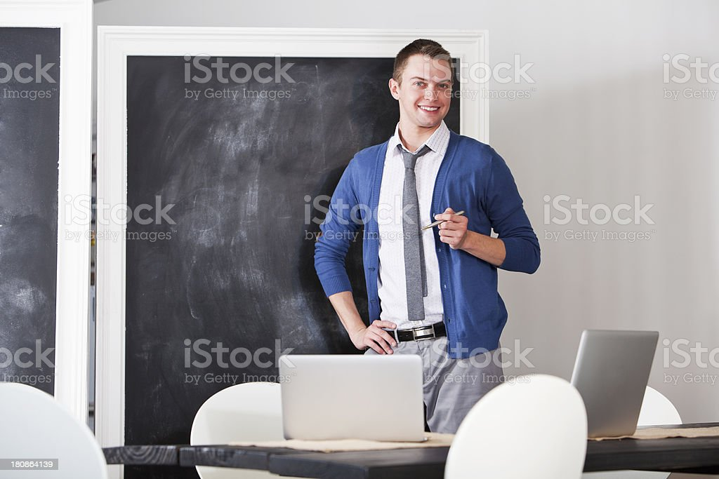Man giving presentation stock photo