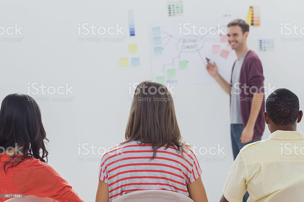 Man giving presenting flowchart on whiteboard royalty-free stock photo