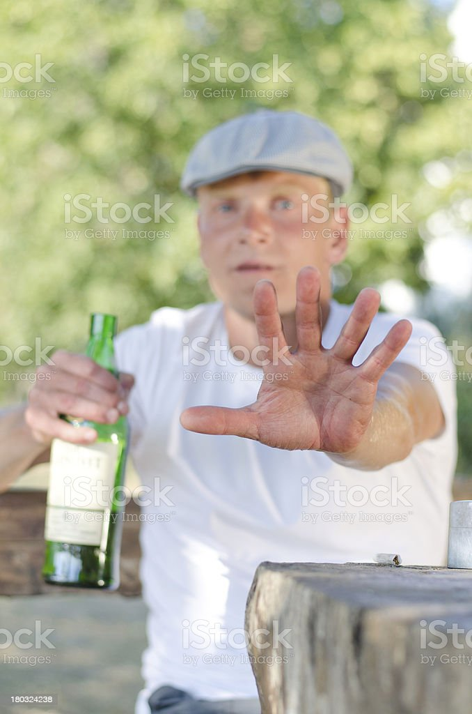 Man giving the Stop or Halt gesture stock photo