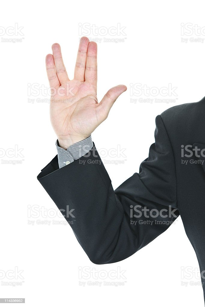 Man giving Vulcan salute stock photo
