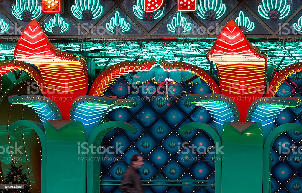 Man going by a casino royalty-free stock photo