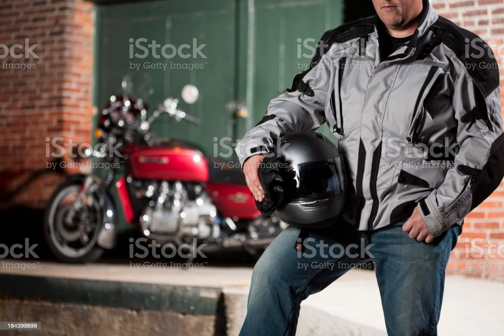 Man going for a motorcycle ride royalty-free stock photo