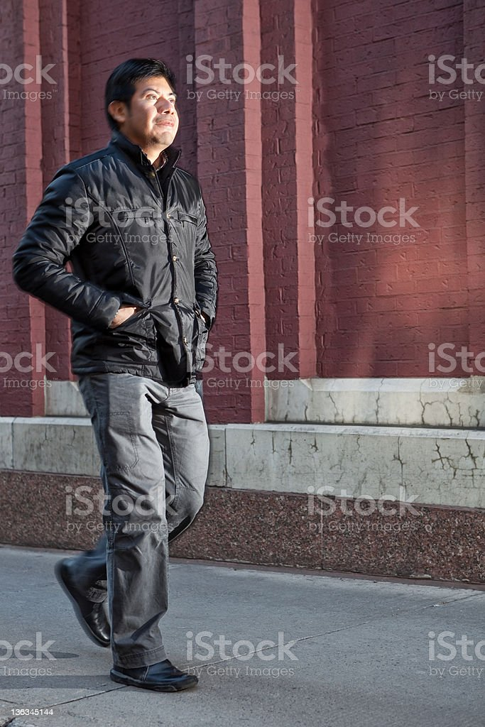 Man going for a walk royalty-free stock photo