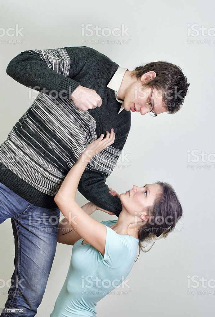 Man going to beat his wife. royalty-free stock photo