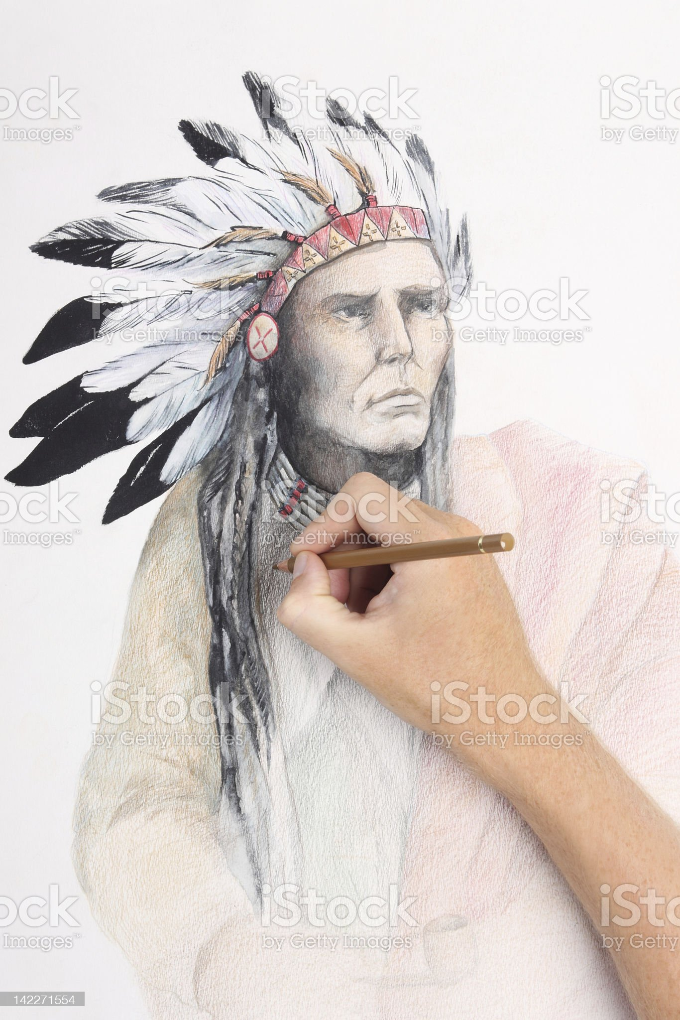 man hand drawing pencil picture with american indian chief royalty-free stock vector art