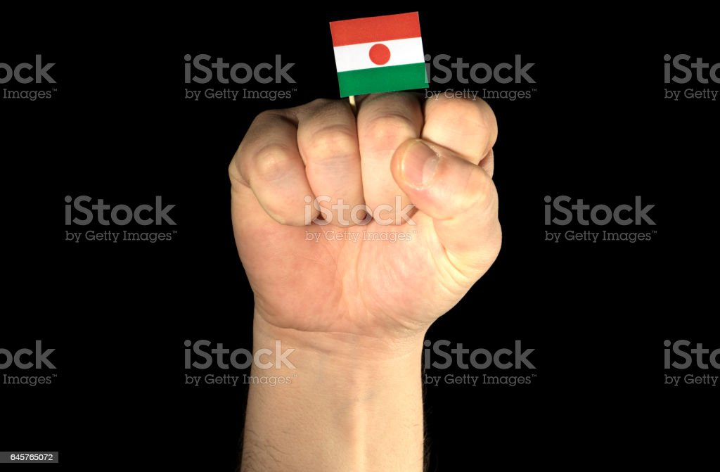 Man hand fist with Nigerien flag isolated on black background stock photo