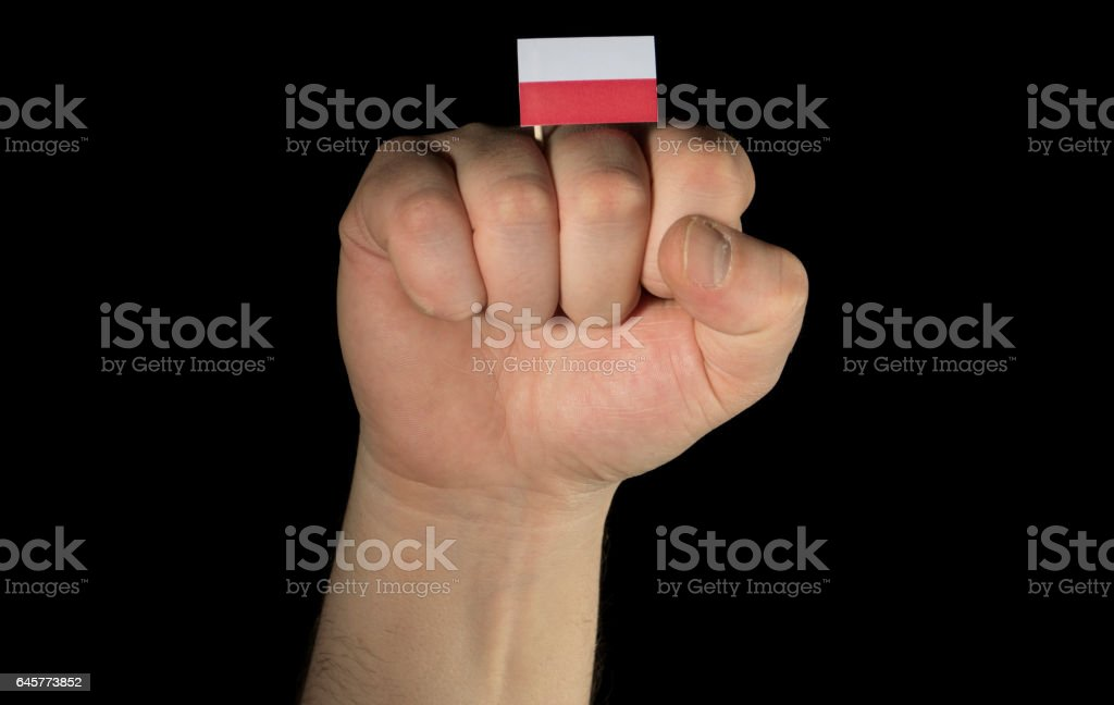 Man hand fist with Polish flag isolated on black background stock photo