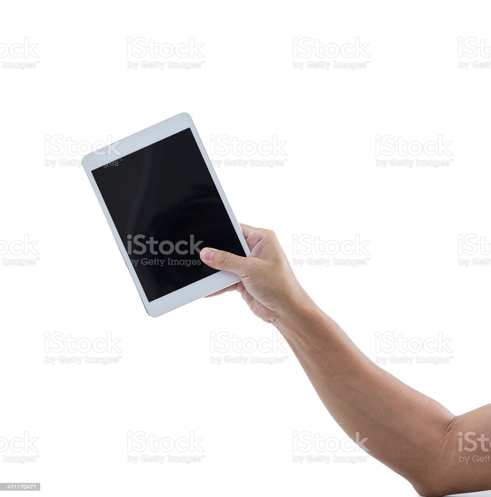 Man hand hold digital tablet isolated on white background royalty-free stock photo