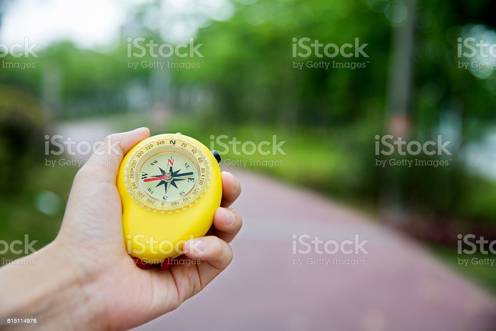 Man hand holding a compass stock photo