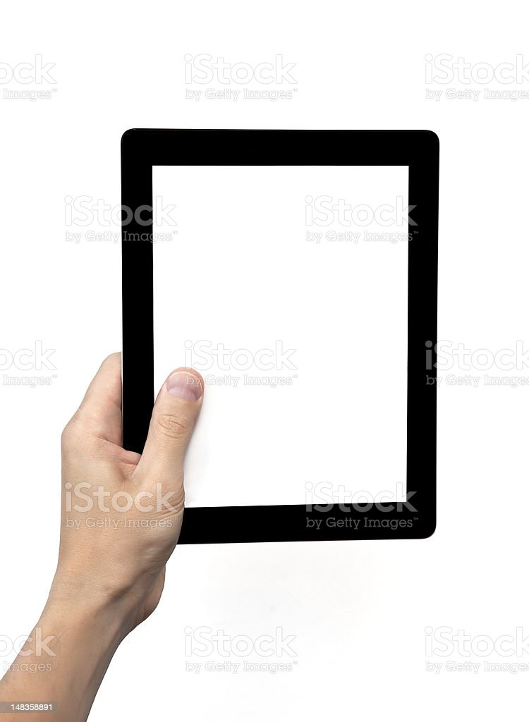 man hand holding a computer screen tablet with isolated royalty-free stock photo