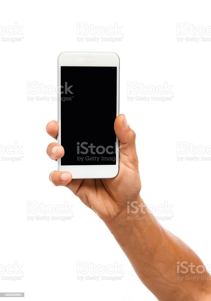 Man hand holding a smartphone stock photo