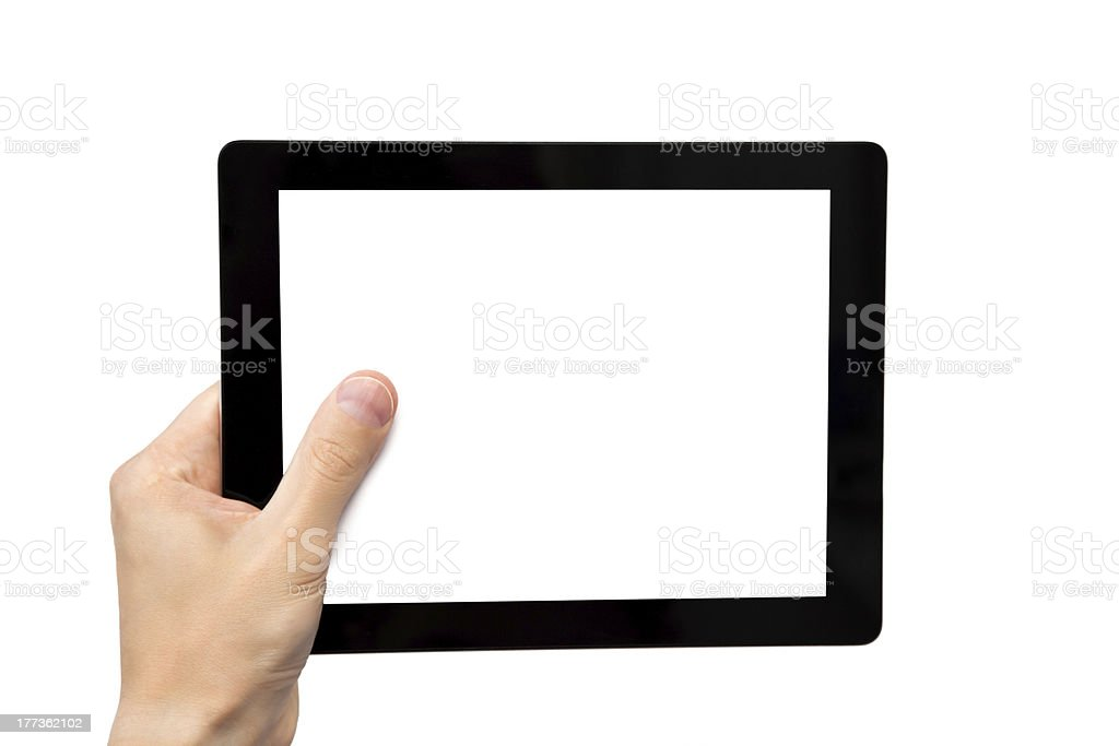 man hand holding a tablet royalty-free stock photo