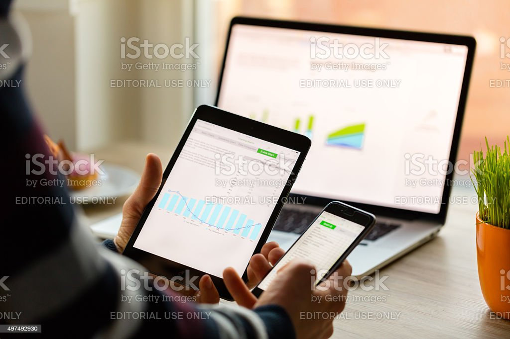 man hand holding Apple IPad Mini and IPhone 6 stock photo