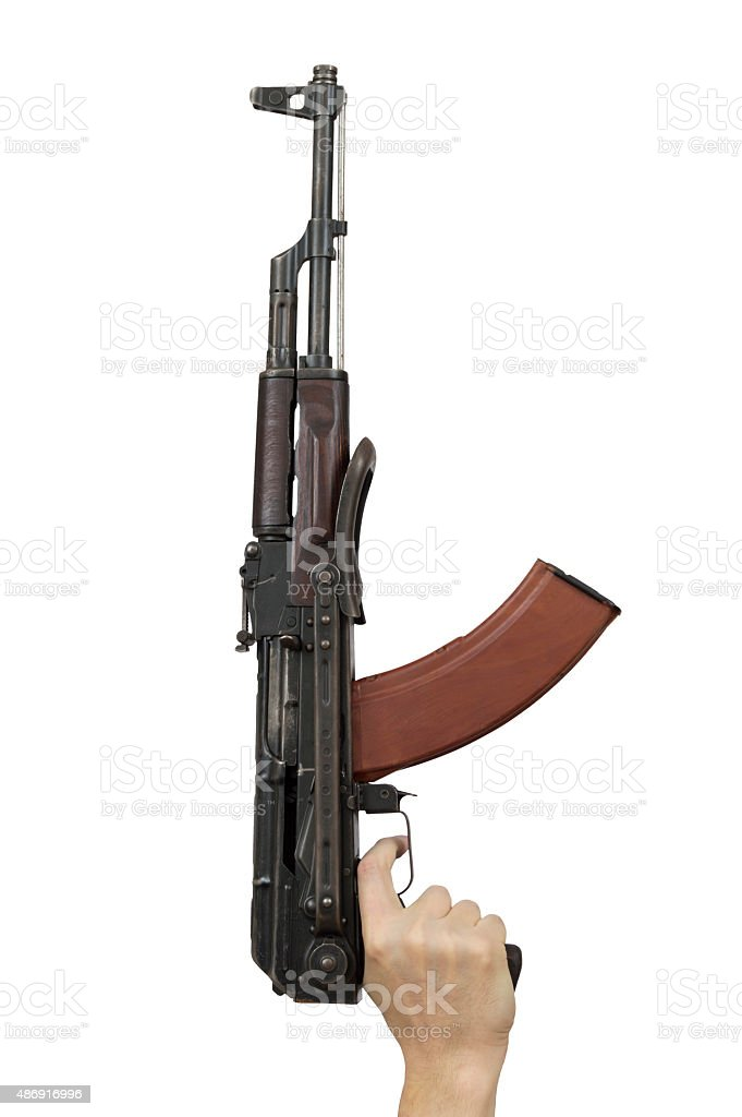 man hand holding machine gun isolated over white stock photo