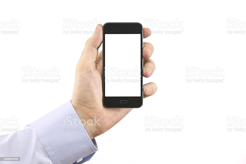 man hand holding smartphone isolated on white royalty-free stock photo