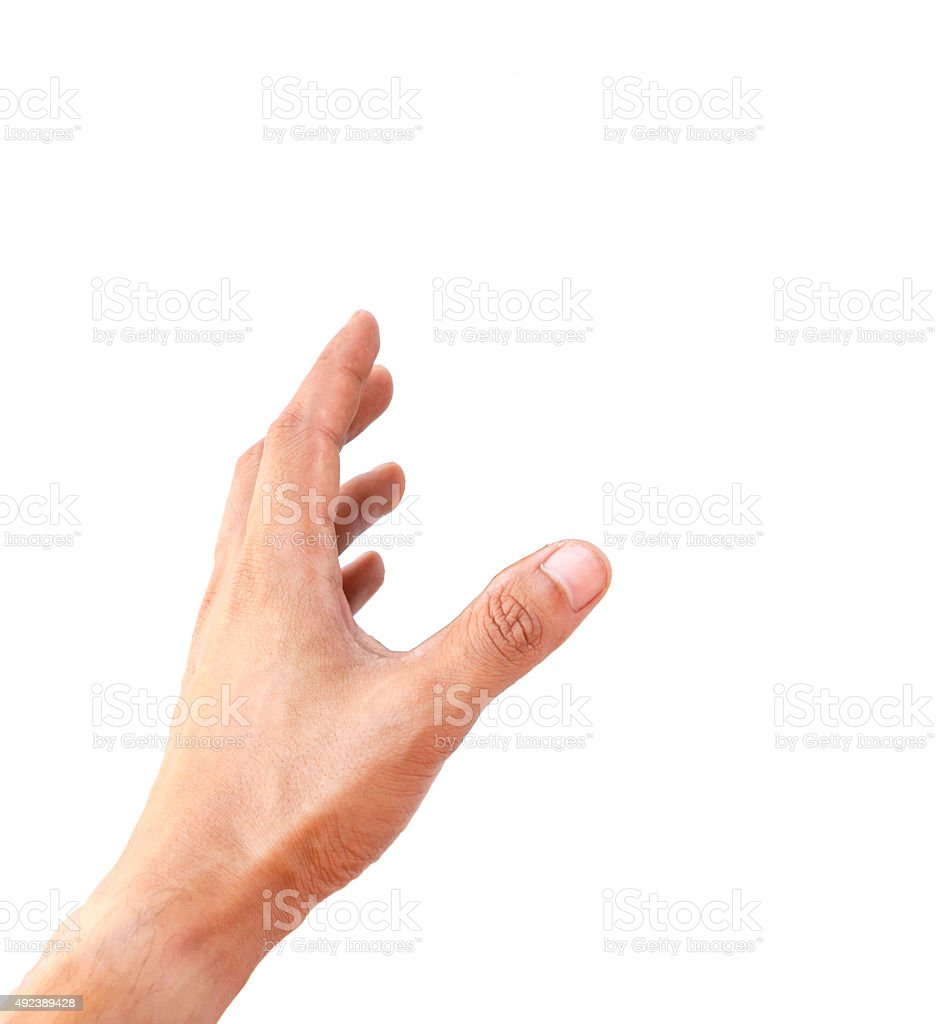 Man hand holding something isolated stock photo