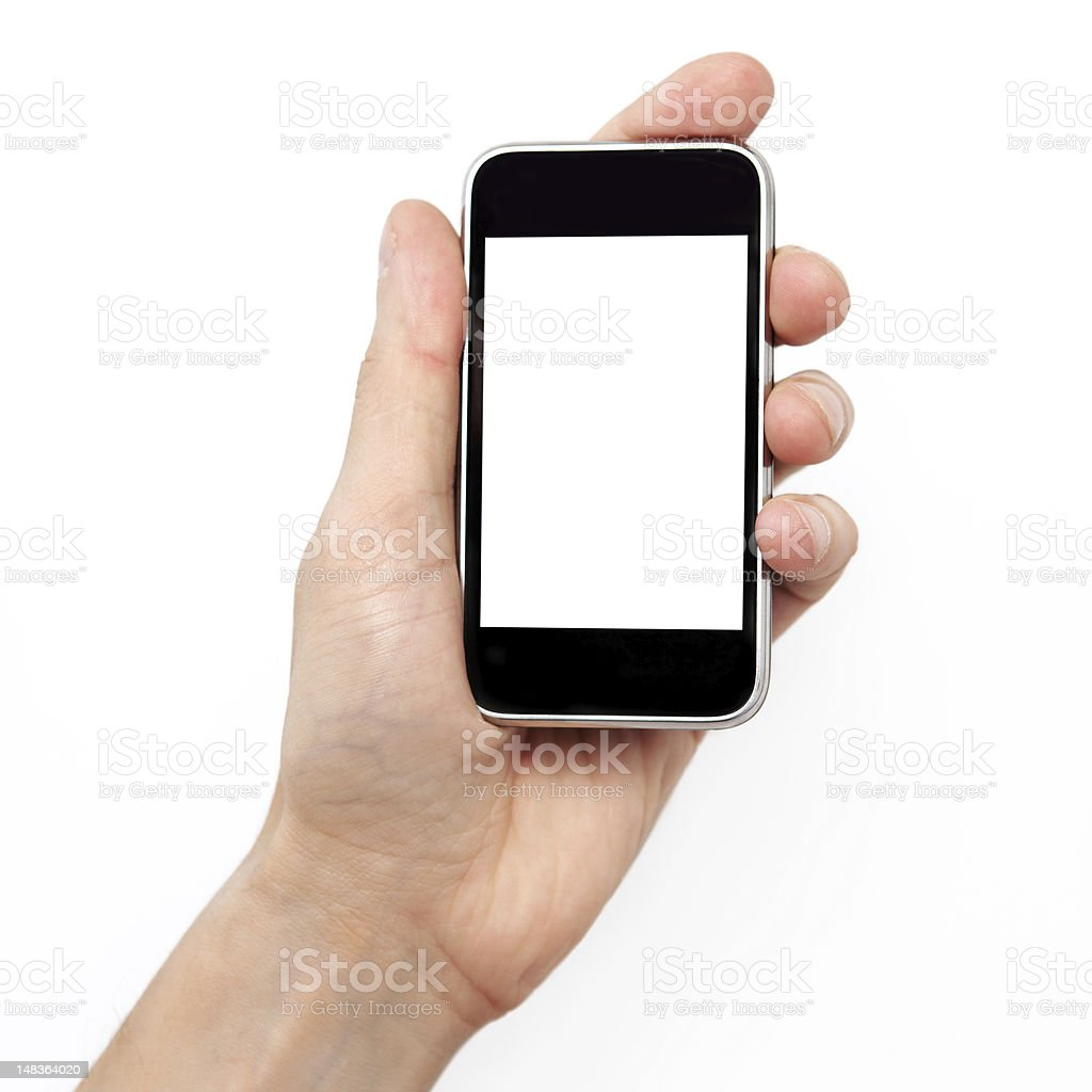 man hand holding the phone royalty-free stock photo