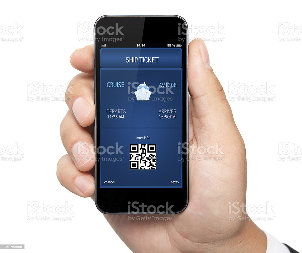 man hand holding the phone  with a mobile wallet royalty-free stock photo