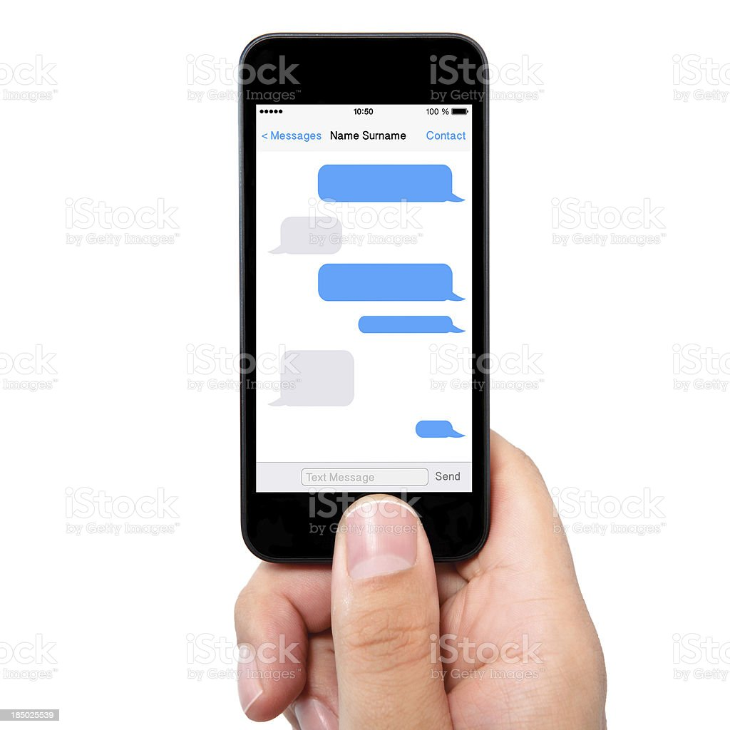 man hand holding the phone with sms chat a screen royalty-free stock photo
