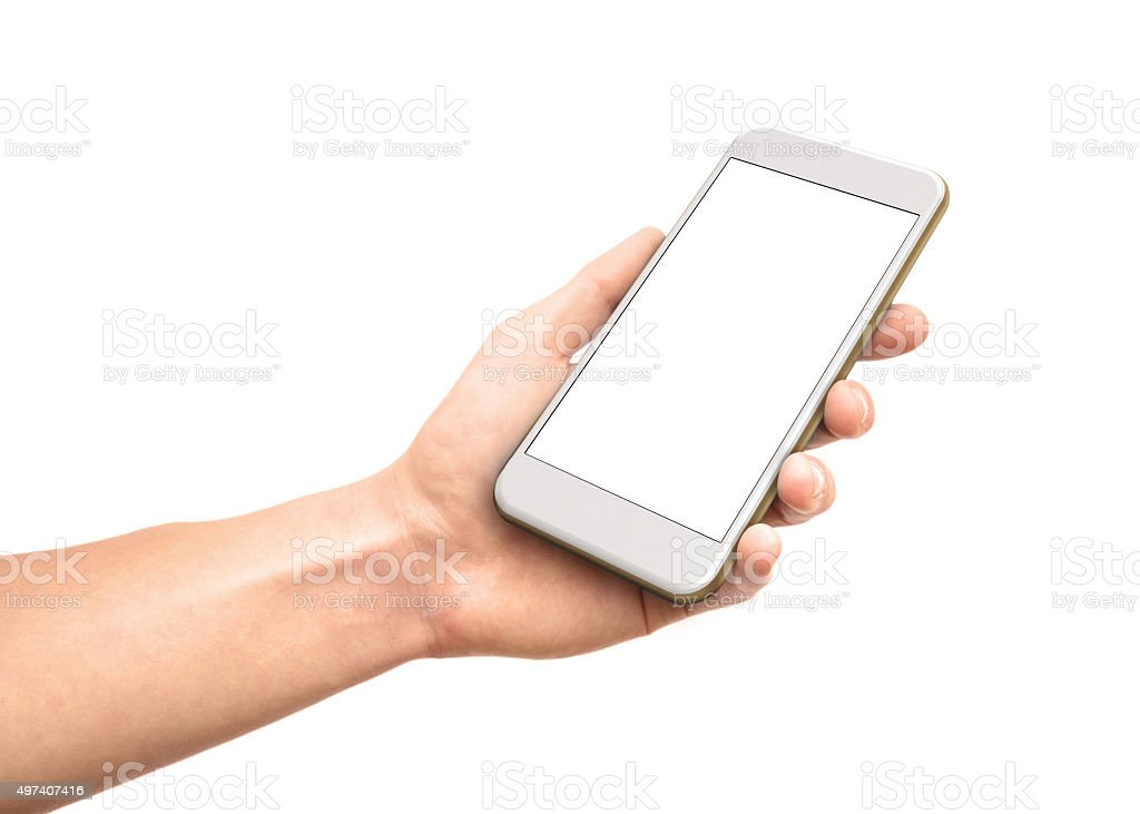 Man hand holding the smartphone stock photo