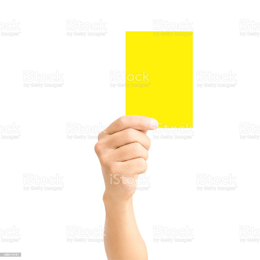 man hand holding yellow card stock photo