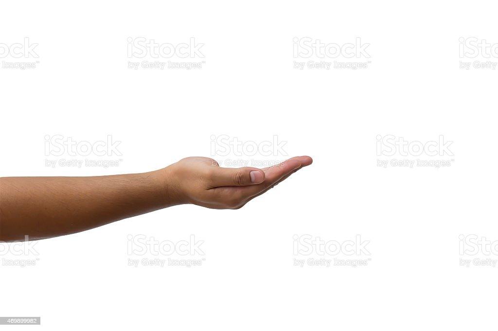 man hand isolated white background stock photo