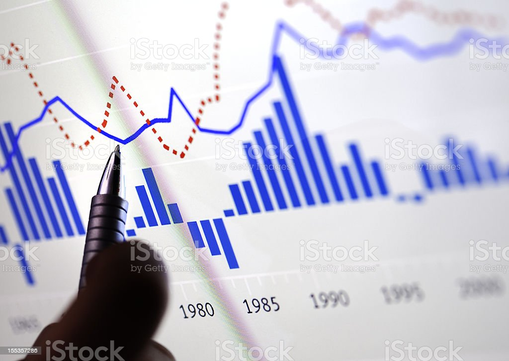 Man hand poiting with pen on a chart on monitor stock photo