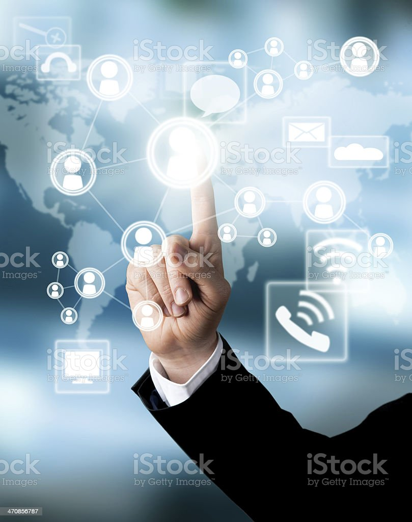 Man hand touching the screen stock photo
