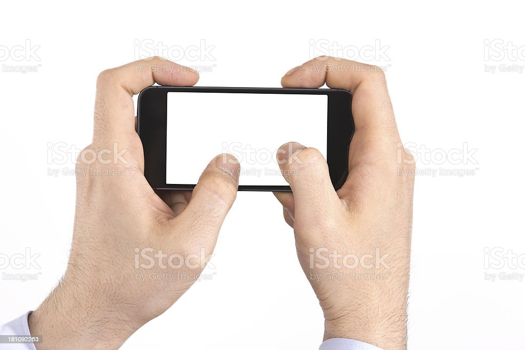 man hand using a smartphone royalty-free stock photo
