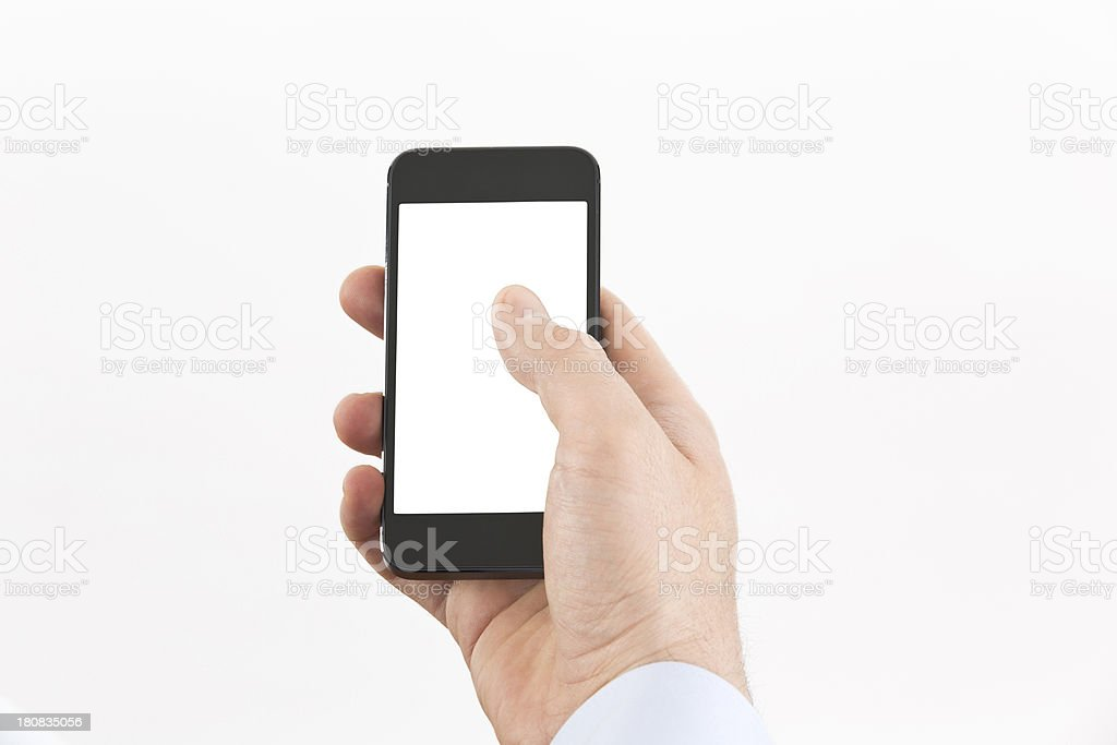 man hand using smartphone isolated on white royalty-free stock photo