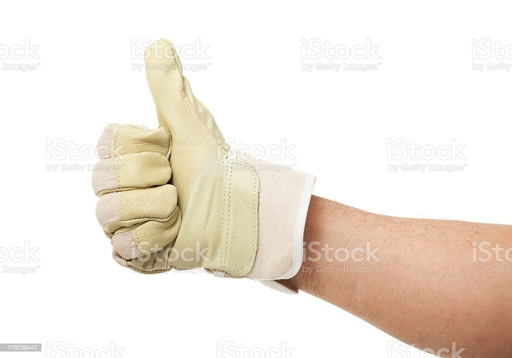 Man hand wearing Leather Work Glove showing thumb up isolated stock photo