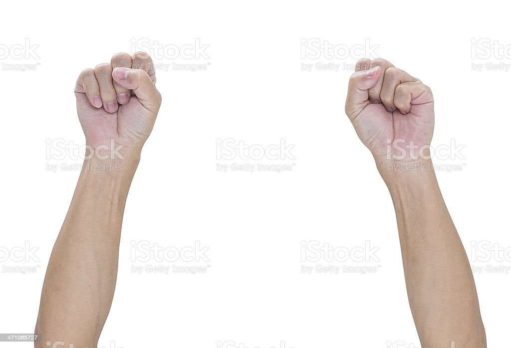 Man hand with a fist isolated on white background stock photo