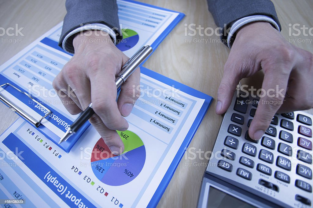 Man hand with business report royalty-free stock photo