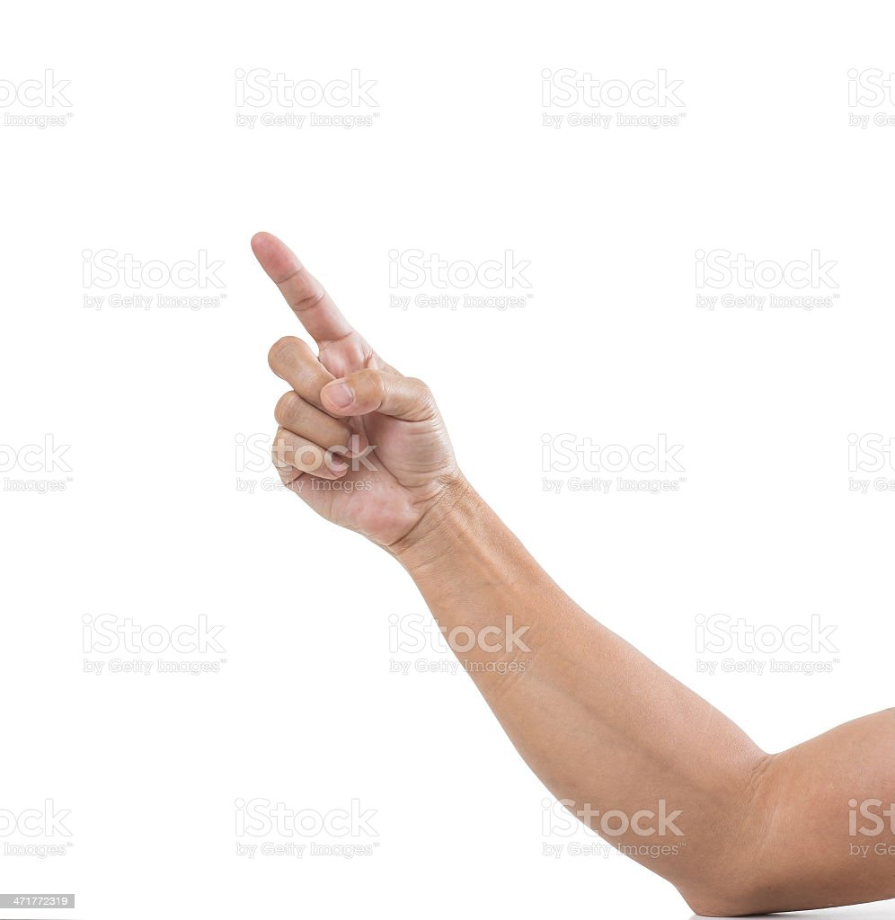 Man hand with finger point isolated white background stock photo